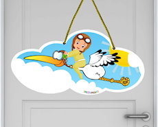 Baby Storch Neutral Hängeschild süß