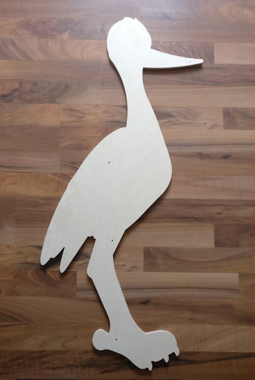 baby storch aus holz zum selber machen selber basteln. Black Bedroom Furniture Sets. Home Design Ideas