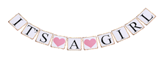 It's a Girl Banner / Girlande zur Geburt Baby, rosa