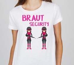 Polterabend T-Shirt fürs TEAM: Braut Security